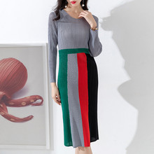 Fold Dress Pleated skirt 2019 New pattern Color matching Skinny Medium length A ladys dress temperament