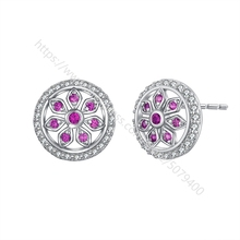 White gold clolor plated Flower CZ Stud Earrings Gift halo Stud Earrings Sparkly Stud Earrings CZ Post Stud for gilrs