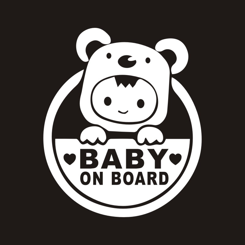 13cm*15cm Baby On Board Sticker Fashion Baby In Car Vinyl Decals Motorcycle Car Sticker Car-styling Black/Silver colorful