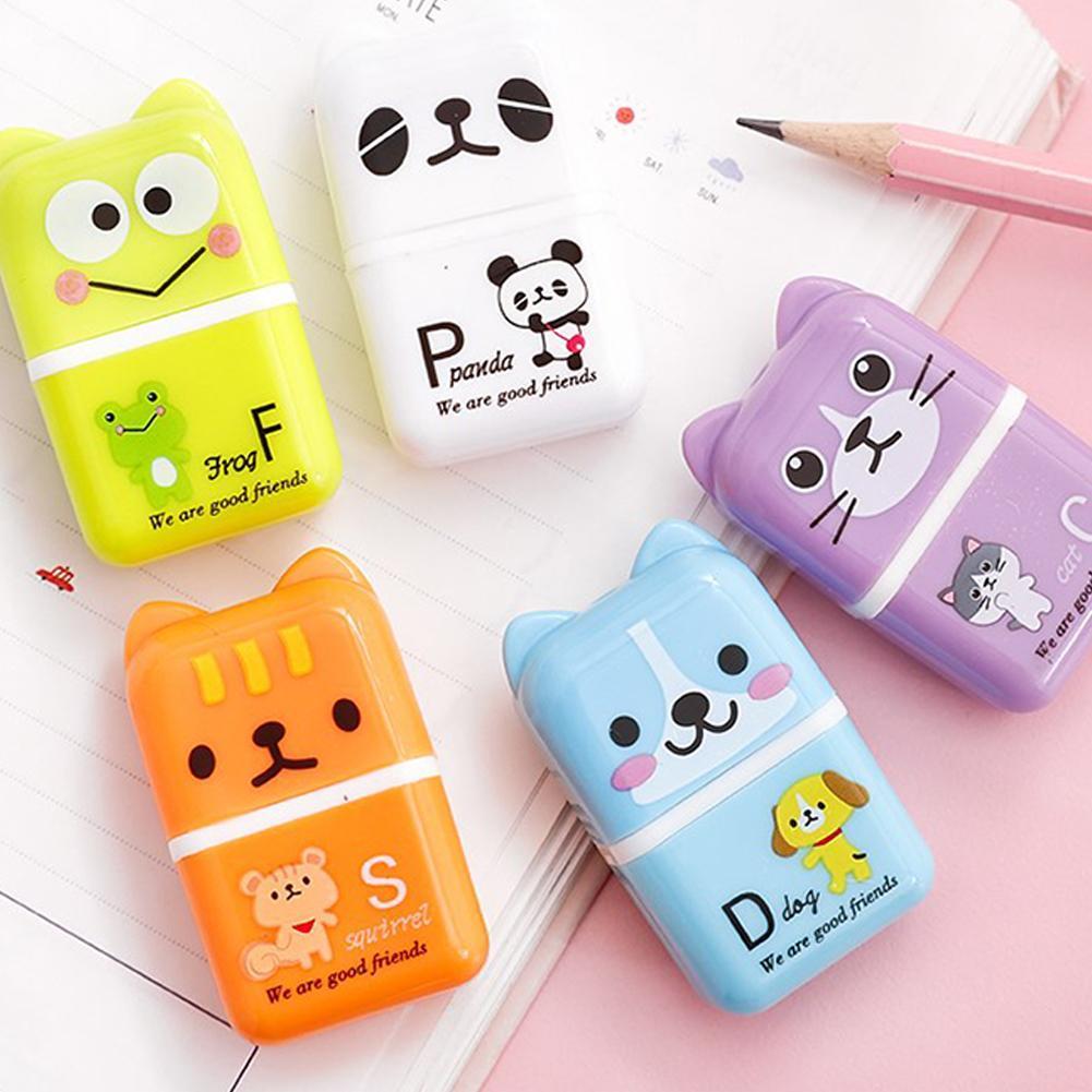 5pcs Roller Eraser Cute Cartoon Rubber Kawaii Students Stationery Material Escolar Kids Gifts School Office Correction Supplies