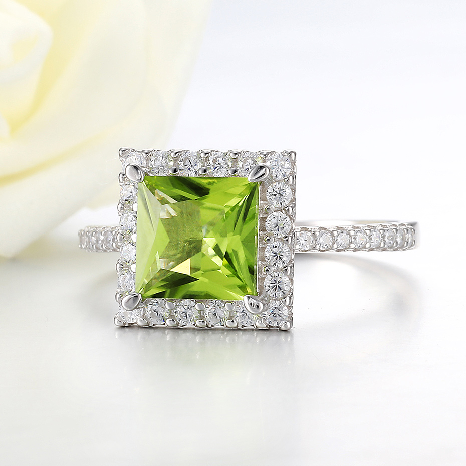 Image 2 - Kuololit 7x7mmNatural Peridot Gemstone Rings for Women Real 925  Sterling Silver Princess Cutting Wedding Engagement Fine JewelryRings