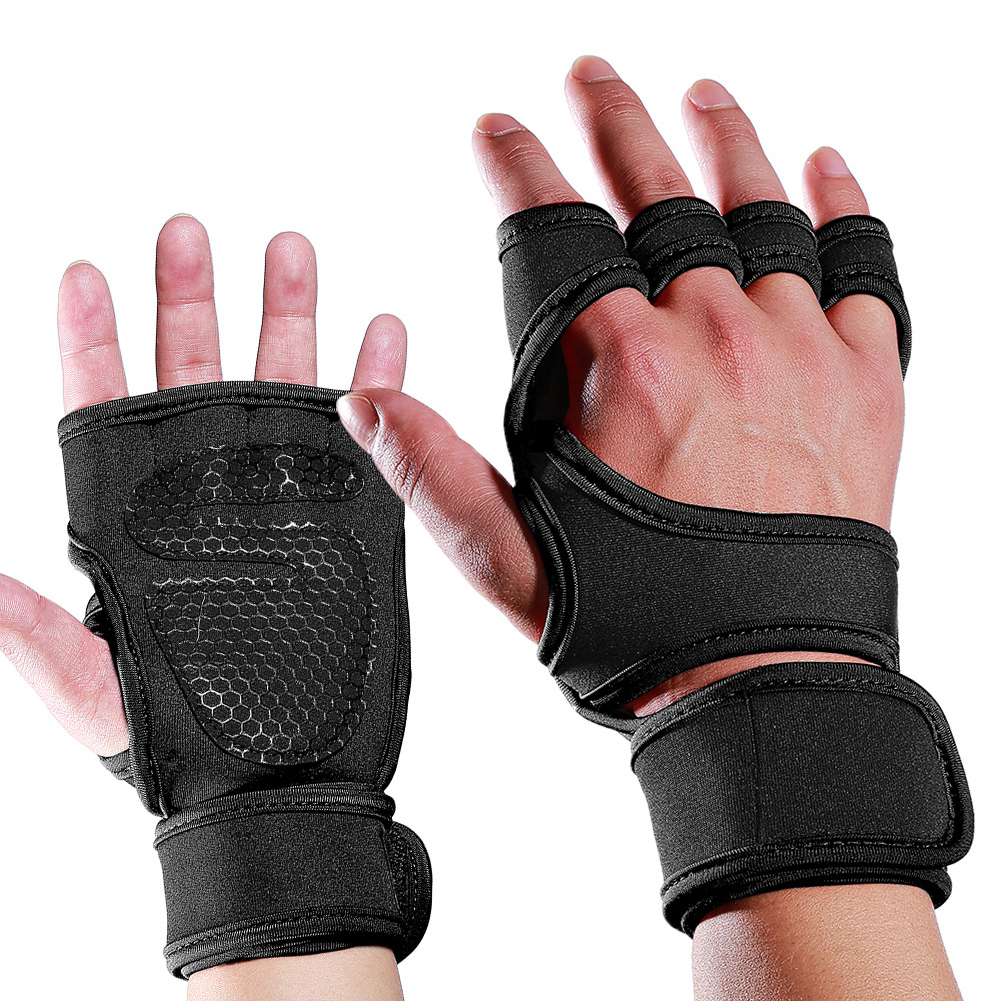 Weight Lifting Silicone Padded Gloves Gym Fitness Bodybuilding Workout Wrist