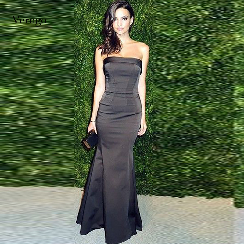 Verngo Mermaid Evening Dress Simple Evening Dresses Long Sexy Formal Dress Party Black Prom Gown Vestidos Elegantes