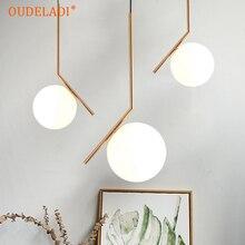 الحديث زجاج إبداعي قلادة الكرة تركيب المصابيح الشمال المنزل ديكو غرفة الطعام الذهبي E27 LED مصباح مُثبت في السقف مصباح
