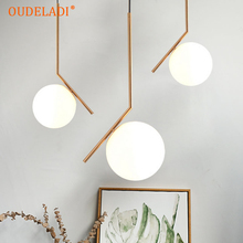 Modern creative glass ball pendant light fixture Nordic home deco dining room golden E27 LED bulb pendant lamp