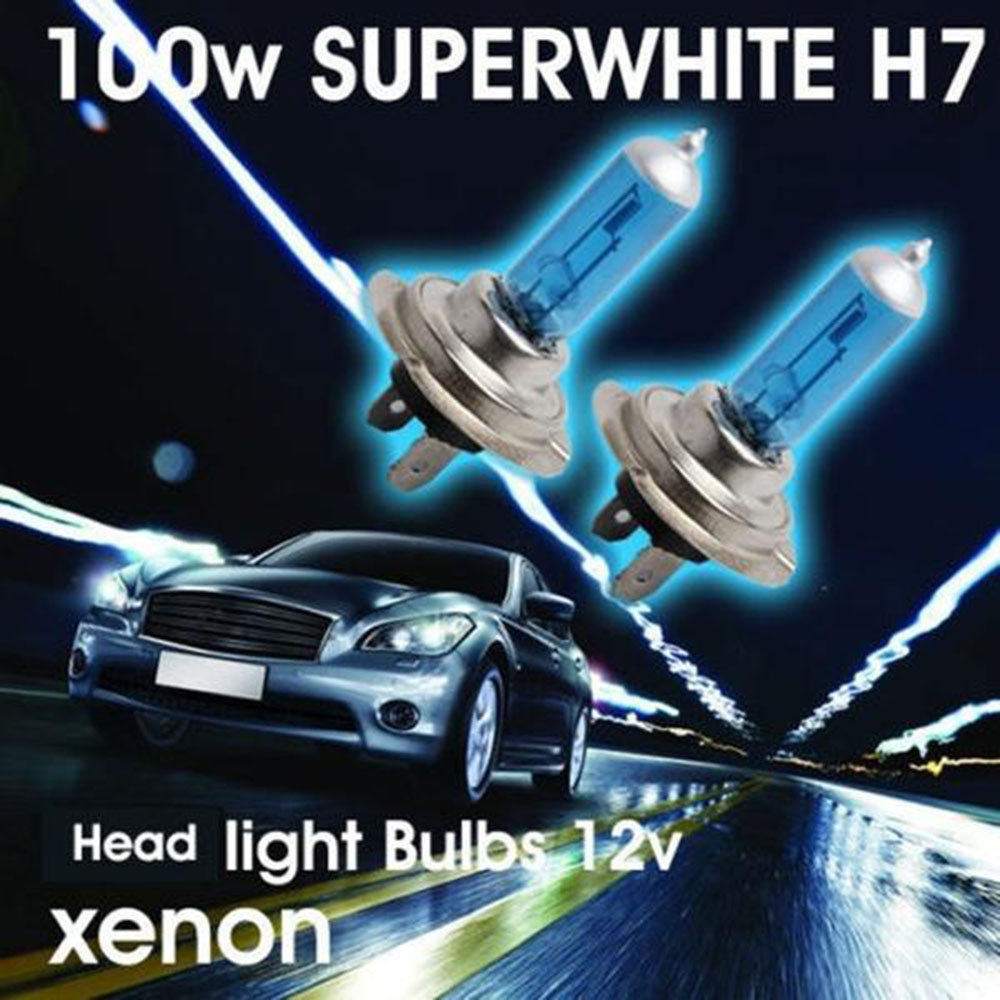 Universal Car Light H7 6000K Xenon Gas Halogen Headlight 100W 12V White Car Light Lamp Bulbs Auto Accessories