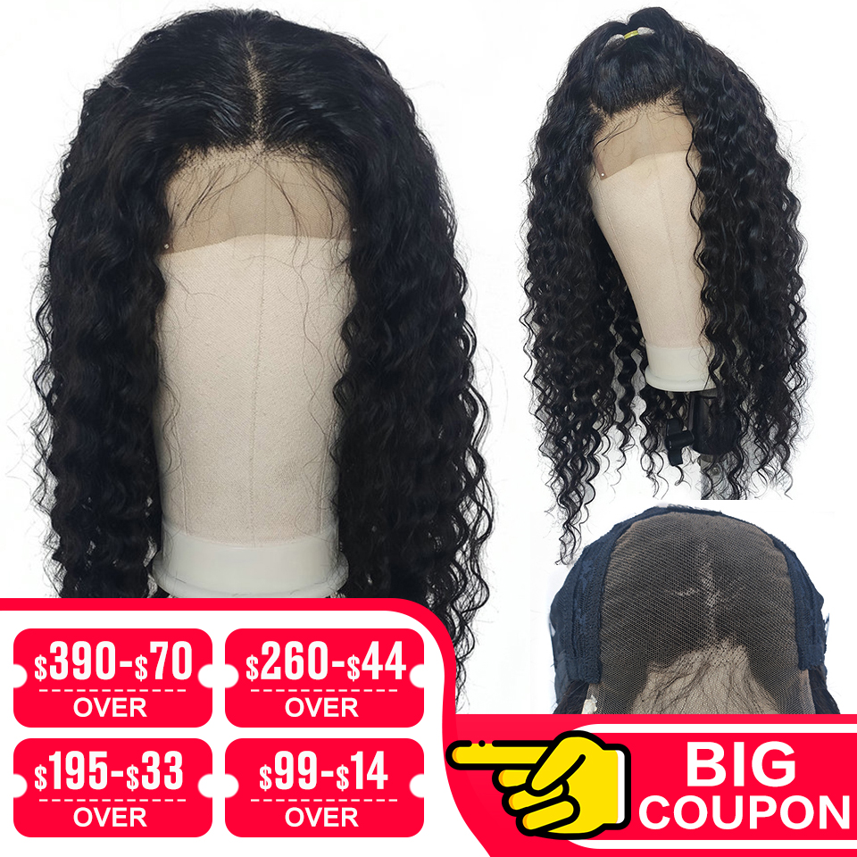 Emol Brazilian Deep Wave Human Hair Wigs Pre Plucked Hairline 4*4 Lace Closure Wigs 150% Density Deep Wave Lace Front Remy Hair