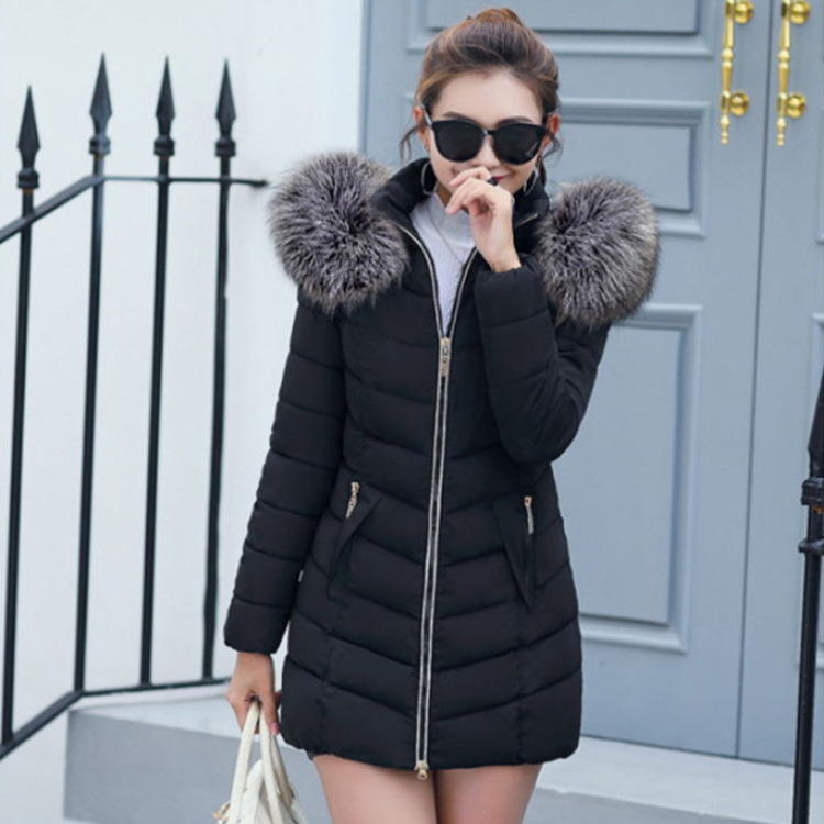 2019 Winter Korean-style New Style WOMEN'S Cotton Padded Clothing Women's Mid-length Slim Fit Cotton-padded Jacket Large Fur Col
