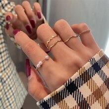 2020 Kpop Vintage 5 unids/set de perlas de onda de doblez dorado anillos de cadena de giro de bola redonda para mujeres Egirl citas joyería estética
