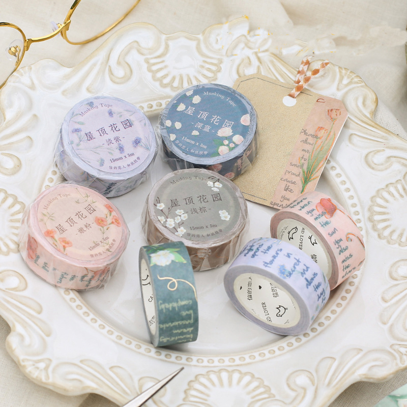 * Kawaii Roof Garden Series Color Washi Masking Tape Release Paper Stickers Scrapbooking Stationery Decorative Tape