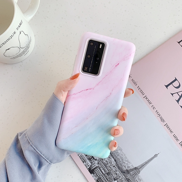 Fashion Glossy Marble Phone Case for Coque Samsung Galaxy A40 A50 A70 A51 A71 S20 Ultra Plus Case Gradient Soft IMD Back Cover