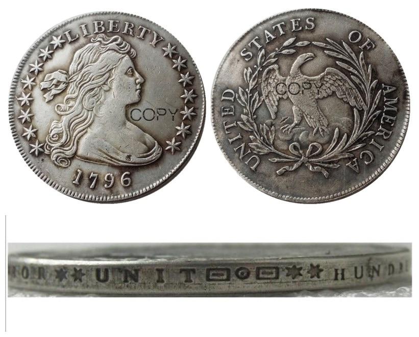 Us 1796 dólar da liberdade prata chapeado cópia moeda