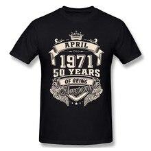 Logotipo feito sob encomenda nascido em abril de 1971 50 anos de ser incrível t camisa mais tamanho algodão manga curta personalizado t camisas
