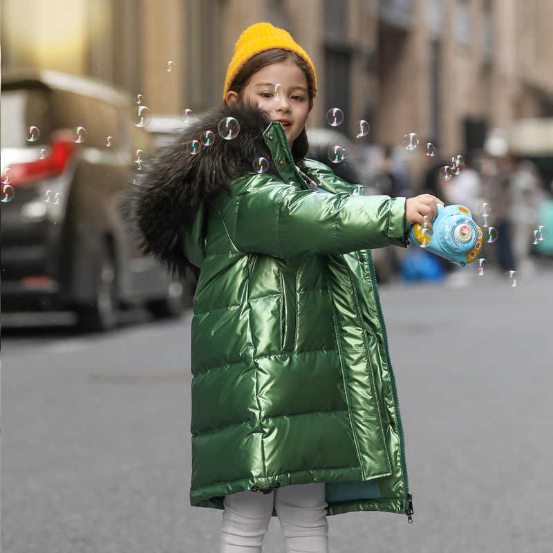 White Duck Down Kid Girl Racoon Fur Collar Thick Warm Children Shiny Winter Jackets Kids Down Jackets For Boy Coat Teenage Parka