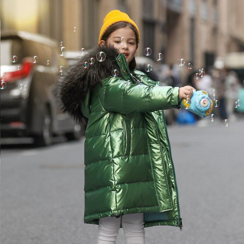 Blanc canard vers le bas enfant fille raton laveur col de fourrure épais chaud enfants brillant hiver vestes enfants doudoune pour garçon manteau adolescent Parka