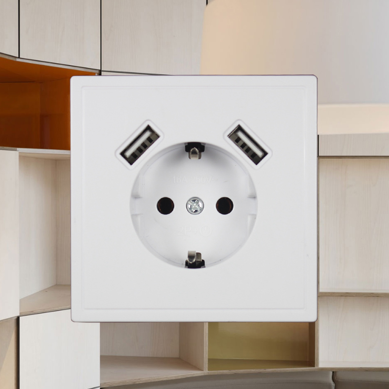 USB Wall Socket Free Shipping Double USB Port 5V 2A Usb Enchufes Para Pared Prise High Quality Usb Murale Steckdose J2-01