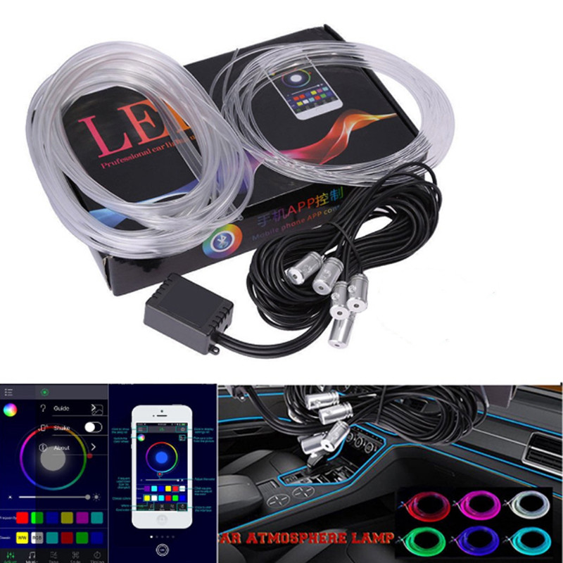 Sound Active EL Neon Strip Light RGB LED Car Interior Light Multicolor Bluetooth Phone Control Atmosphere Light 12V For Cars