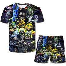 3D-printed Freddy 5 Night Pattern Summer Kids T-Shirt Set Boys & Girls T-Shirt Top + Casual Shorts