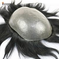 Eversilky 100% Remy человеческие волосы прочный ПУ мужской парик натуральный волос Замена системы мужские парик
