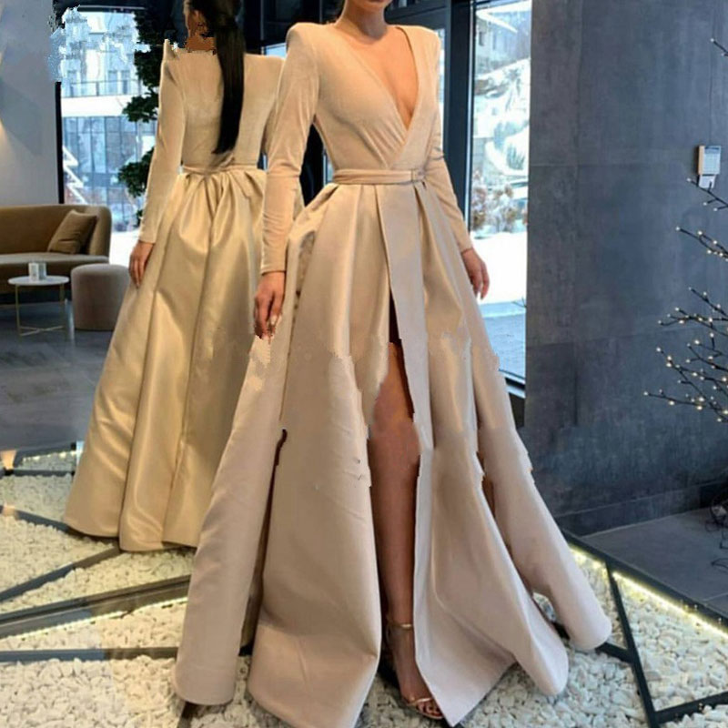 Muslim Long Stretch Prom Party Evening Dresses Vestido De Noiva Sereia Gown Satin Robe De Soiree Elegant Frock Sexy Side Slit