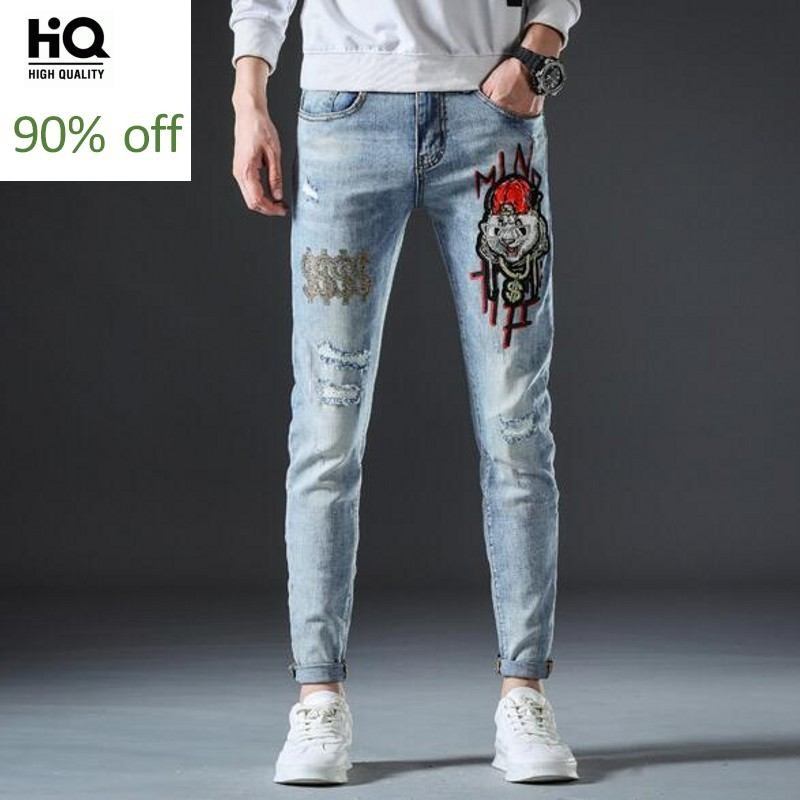 Autumn Winter Thick Mens Hole Ripped Casual Denim Pants Fashion Embroidery Diamonds Straight Stretch Male Full Length Trousers
