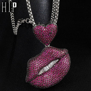 Hip Hop Full Iced Out CZ AAA+ Purple Lips Square Stones Solid Back Pendants & Necklaces Men Women For Men Charm Jewelry