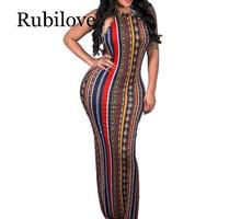 Rubilove Striped Printed Vintage Bohemian Dress Women O Neck Sleeveless Plus Size Casual Vacation Maxi With Head Sca
