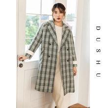 Женское длинное шерстяное пальто в клетку dushu повседневное