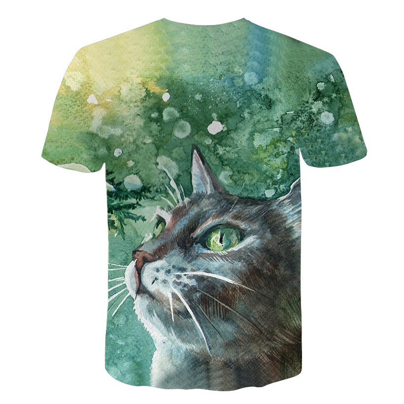 Fashion 3D Animal Pet Cat Print T Shirt for Women Harajuku Style Top Tees Female O Neck Short Sleeved T-shirt