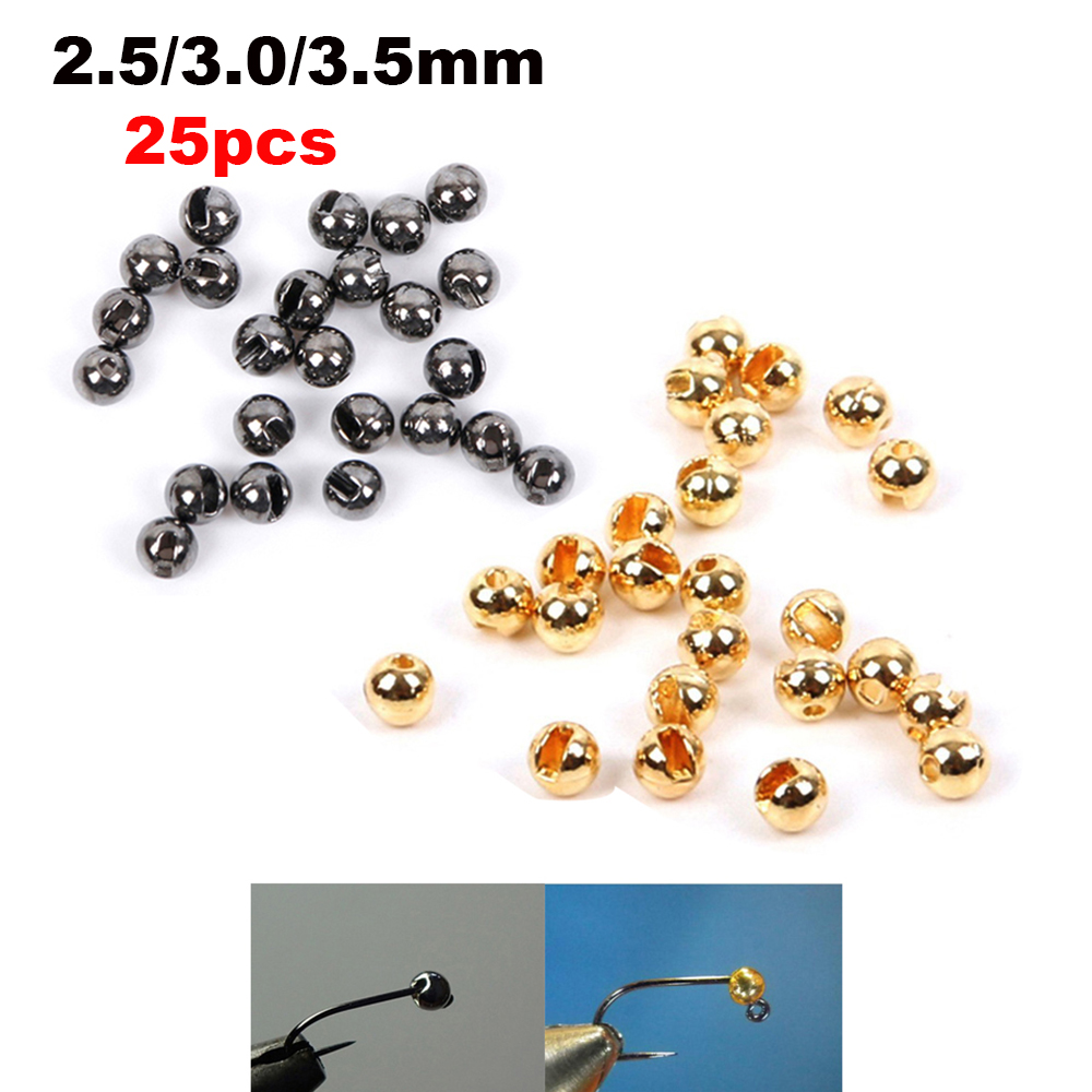 25 pces nice-projetado liga de tungstênio entalhado grânulo mosca amarrando material rápido afundando mosca dourada amarrando grânulos acessório de pesca