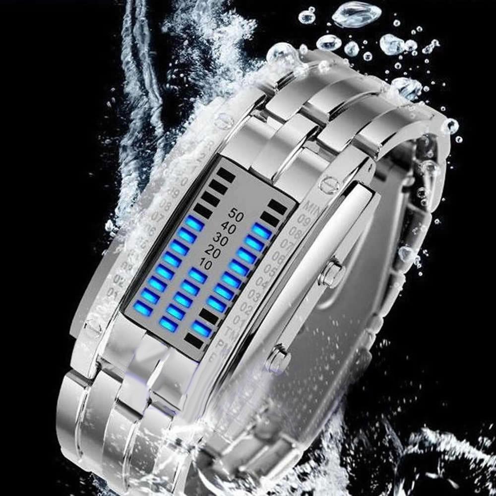 Fashion Couple Watch Men Women Luxury Watch Lovers Stainless Steel Clock LED Date Bracelet Watch Binary Wristwatch Sport Watches
