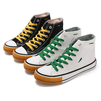Women Classic Skateboarding Shoes,Bicolor Canvas Shoes,High-top Casual Shoes,Size 35-40 image