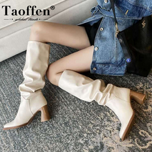 Shoes Women Boots Lady Casual-Footwear Square Toe High-Heel Taoffen-Size Knee Riding-Botas