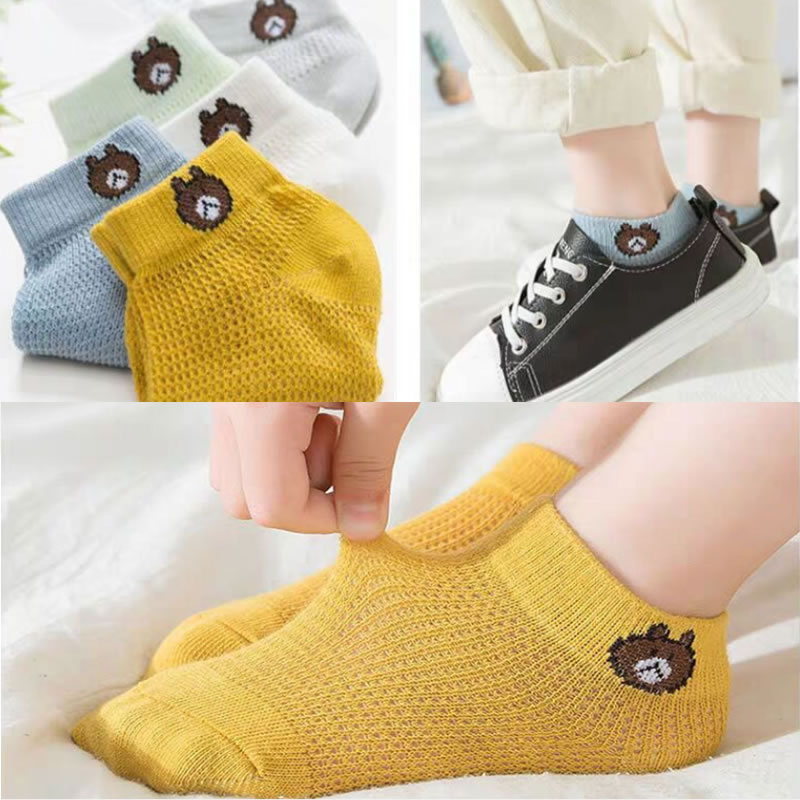 Toddler <font><b>Socks</b></font> Summer Cotton Mesh 5-pair Pack BABY Children No-show <font><b>Animal</b></font> print <font><b>socks</b></font> Spring, Autumn <font><b>Unisex</b></font> Combed 65(%) image