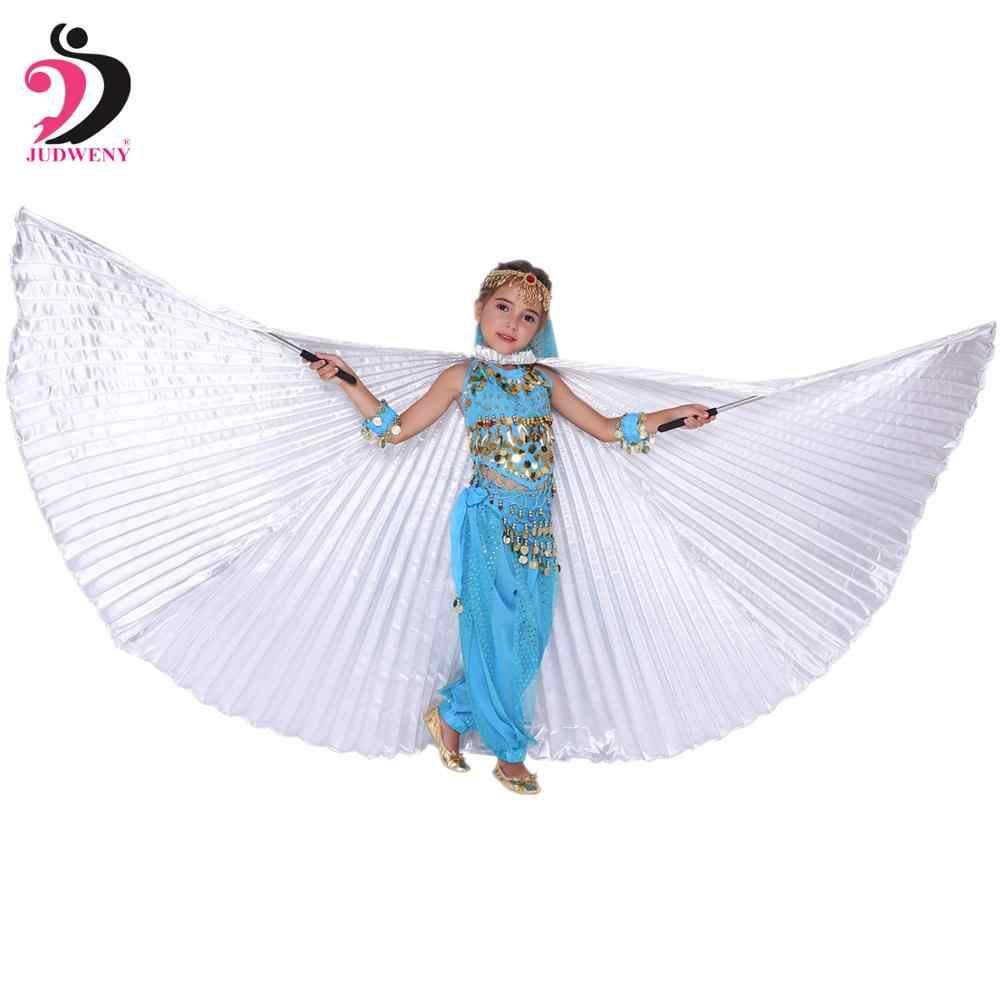 Kids Belly Dance เครื่องแต่งกาย Belly Dance ปีก Bollywood เครื่องแต่งกายหญิง Gypsy Belly เต้นรำทองสำหรับสาวเด็ก 10 สี Sticks