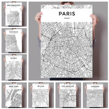 Black and White World City Map New York Milan Paris Wall Art Canvas Poster Prints Nordic Style Paintings Picture for Living Room