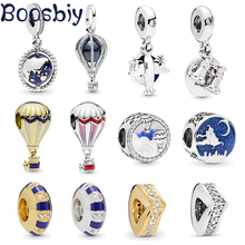 Boosbiy 2pc Summer Collection Hot Air Balloon Trip Earth Charm Beads Fit Pandora Women DIY Bracelets Bangles Necklace Jewelry
