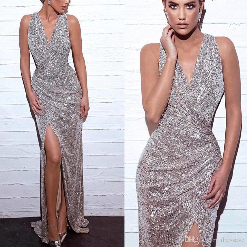 Elegant Silver Mermaid Long   Evening     Dress   2019 Sexy High Slit Sleeveless Formal Party Gown Sequined robe de soiree