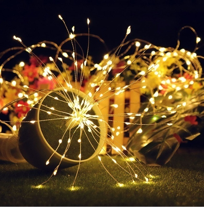 METABLE New Hanging Starburst String Light 120LED DIY Firework Copper Fairy Garland Christmas Lights Outdoor Twinkle Lights in Party DIY Decorations from Home Garden