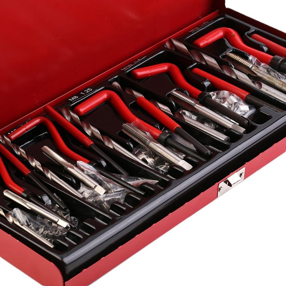 131pcs/set Durable Thread Repair Tool Sets Helicoil Rethread Repair Kit Garage Workshop Tool Professional Recoil Repair Tool