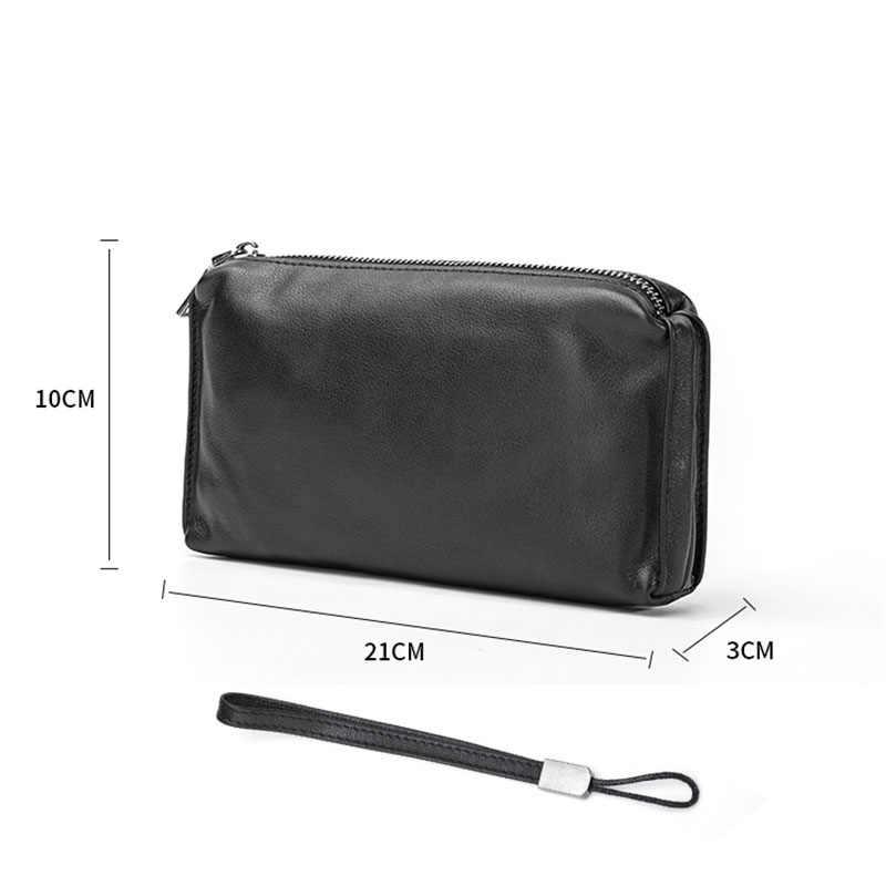 AETOO männer handtaschen, herren leder weichen leder casual handtaschen, lange zip-up brieftaschen, leder handy taschen