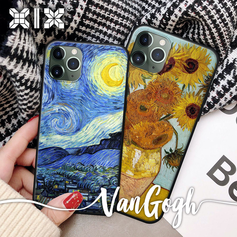 XIX Soft Silicone Luxury Case for iPhone 12 Pro Max 7 8 Plus X XS XR 11 mini Van Gogh Sunflower Design Black Thin Back Cover|Fitted Cases|   - AliExpress