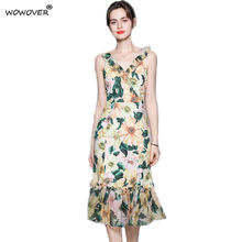 Summer New Arrivals Sleeveless Floral Print Chiffon Runway Women Dress Elegant Designers Slim Sexy Party Trumpet Vestidos S-XXL