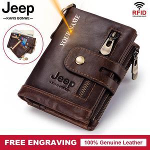 Image 1 - Free Engraving 100% Genuine Leather Men Wallet Coin Purse Small Mini Card Holder Chain PORTFOLIO Portomonee Male Walet Pocket