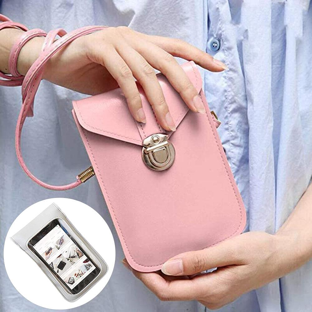 Women's Touch Screen Cell phone purse transparent simple bag new hasp cross wallets Smartphone Leather Shoulder light handbags