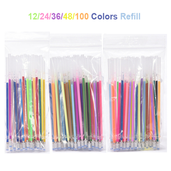 12/24/36/48/100 PCS/lot Multi-color Gel Pen Refills Painting Drawing Glitter Highlighters Pen Art Markers School Office Supplies 6 pcs lot candy color highlighters gel pen promotional gift stationery school