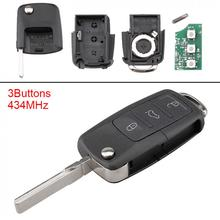 433MHz 3 Buttons Keyless Uncut Flip Remote Key Fob  ID48 Chip 1J0959753DA for For-VW For-PASSAT Beetle 1997-2010 Polo / Skoda недорого