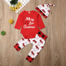 0-18months Newborn Clothes Set My Christmas Letter Baby Girls Bodysuit Elk Animal Long Pants Hats
