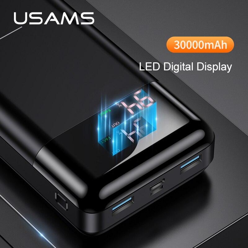 USAMS 3000mAh Power Bank LED Display qc 3.0 3A Fast charging External Portable Battery Powerbank for iPhone Samsung pover banks