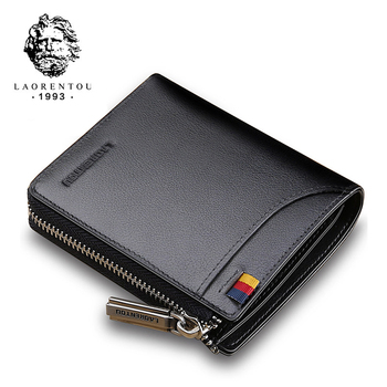 LAORENTOU Wallets Men Card Holder Coin Purse Genuine Leather Short Wallet Purse Zipper Wallets Casual Standard Wallets for Male genuine cow leather men wallets rfid double zipper card holder high quality male wallets purse vintage coin holder men wallets